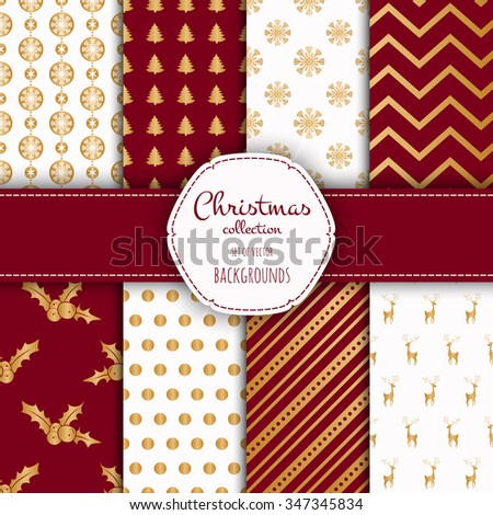 Gold collection of seamless patterns with red and white colors.  Set of seamless backgrounds with traditional symbols - snowflakes, pine tree,deer and suitable abstract patterns.  - stock vector