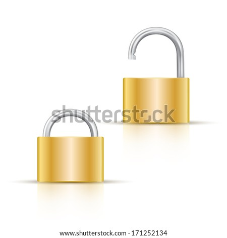 Gold color locked and unlocked padlock Icon isolated on white