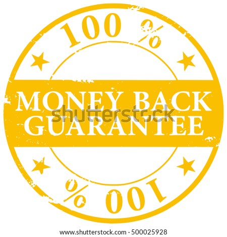 Gold colored 100% Money Back Guarantee grunge rubber stamp vector icon isolated on white background