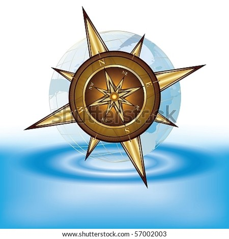 Gold compass and transparent earth on water, eps10 vector illustration