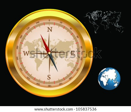 Gold compass isolated world map globe stock vector 105837536 gold compass isolated with world map and globe vector gumiabroncs Choice Image
