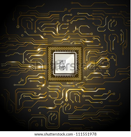Gold computer microcircuit. Illustration on black background for design - stock vector