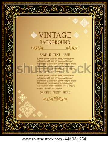 Gold Corner Ornament Greeting Card Vector Template. Retro Luxury Invitation, Royal Certificate. Flourishes frame. Vintage Background, Vintage Frame, Vintage Ornament, Ornaments Vector border design