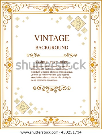Gold Corner Ornament Greeting Card Vector Template. Retro Luxury Invitation, Royal Certificate. Flourishes frame