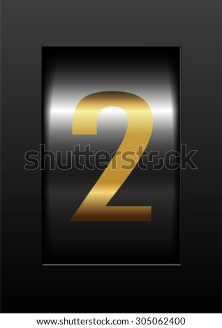 gold counter digit 2 - stock vector