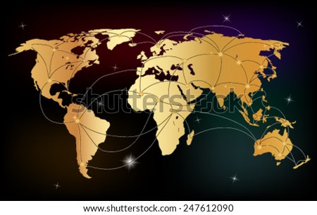 Gold creative concept vector map of the world for Web and Mobile Applications  - stock vector