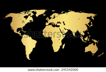 Gold creative concept vector map of the world for Web and Mobile Applications isolated on background. Vector illustration, creative template design, Business software and social media, origami. - stock vector
