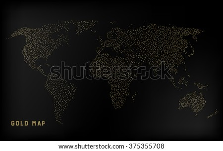 Gold creative concept vector map of the world for Web and Mobile Applications isolated on background. Vector illustration, creative template design, Business software and social media, origami.