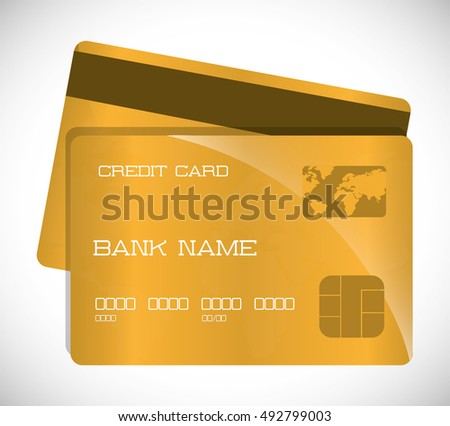 Gold credit card icon. Money payment market and buy theme. Colorful design. Vector illustration