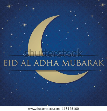 "Gold crescent moon ""Eid Al Adha Mubarak"" (Blessed Eid Al Adha) card in vector format. - stock vector"