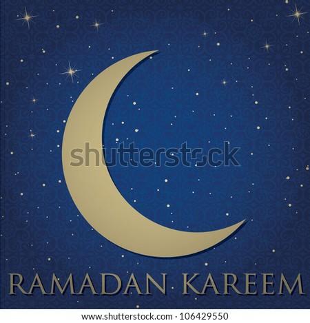 "Gold crescent moon ""Ramadan Kareem"" (Generous Ramadan) card in vector format. - stock vector"