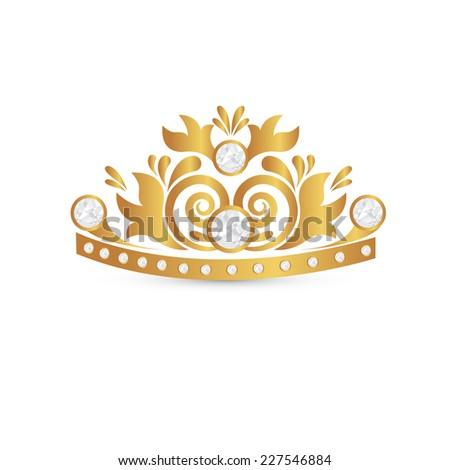 gold crown icon. vector - stock vector