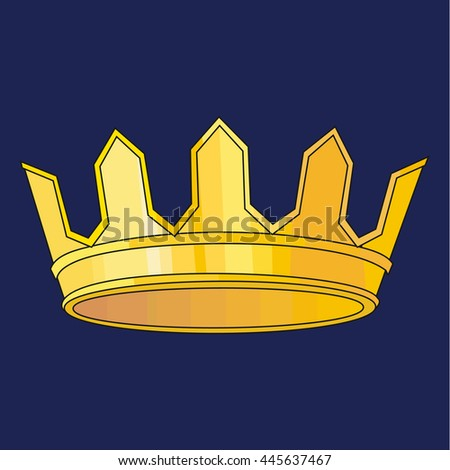 Gold Crown Isolated On blue Background. Vector Illustration