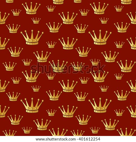 Gold crown on a red. Seamless vector background.