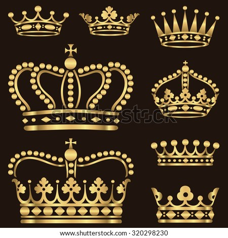 Gold Crown Set - Set of ornate gold crowns.  Colors in gradients are just a few global swatches, so file can be recolored easily.  Each crown is grouped individually for easy editing. - stock vector