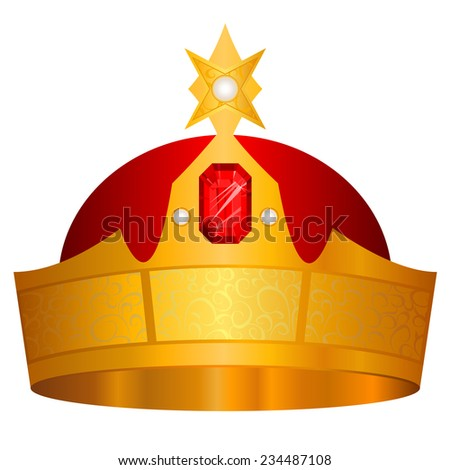 Gold crown vector, isolated on white background - stock vector
