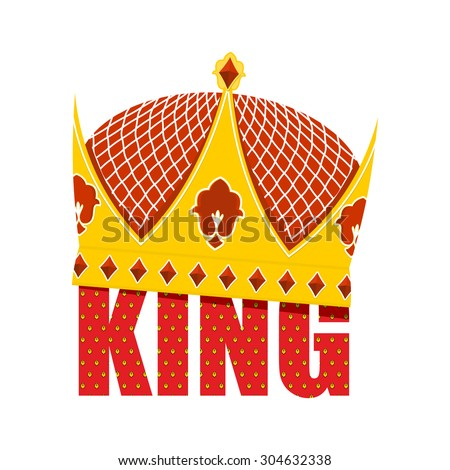 Gold Crown with diamonds. Crown for King. Vector illustration Royal accessory - stock vector
