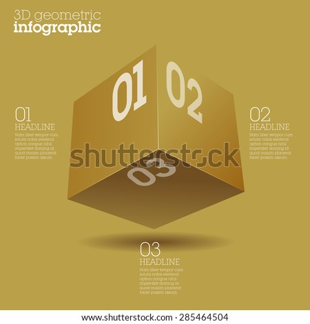 Gold cube infographic design / abstract form suitable for infographics, book cover or web banner or user interface