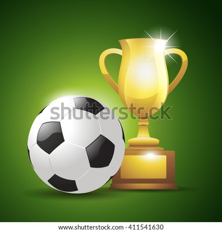 Gold cup with a soccer ball. Vector illustration background - stock vector