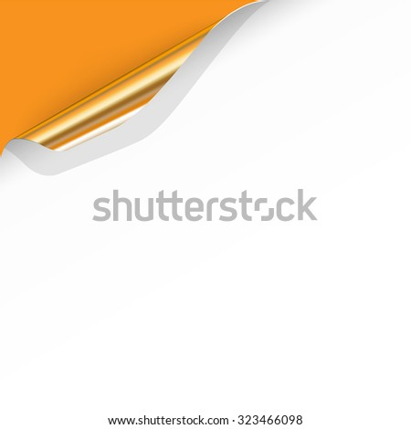 Gold Curled Corner with Orange Background. Vector Illustration - stock vector