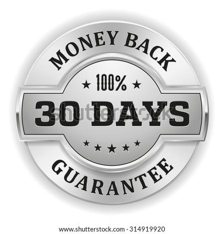 Gold 30 days money back badge on white background - stock vector