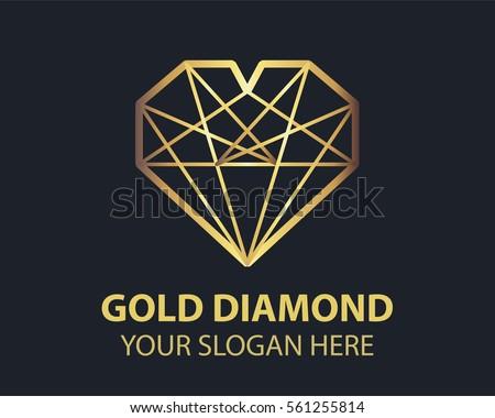 Gold Diamond Logo Design Template Stock Vector 561255814