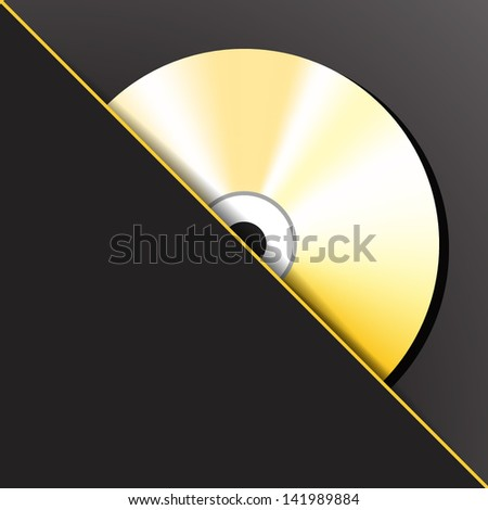Gold digital CD (compact disc) in the pocket. Vector illustration. - stock vector