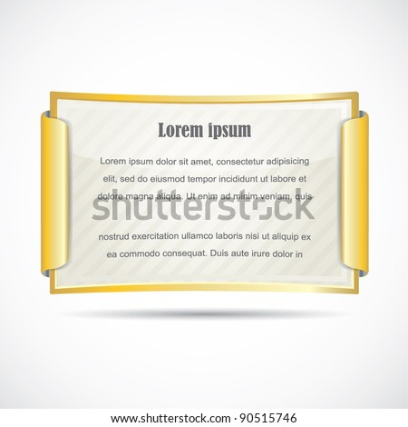 Gold diploma / paper card in gold frame - stock vector