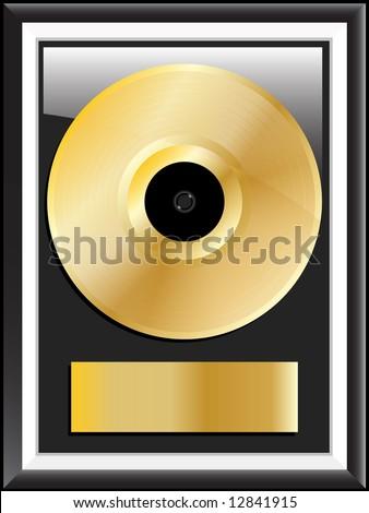 Gold disc vector illustration - stock vector