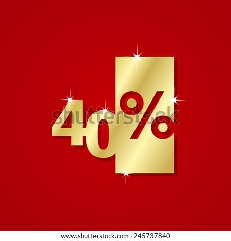 Gold Discount plate 40% red background