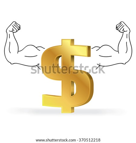 Gold dollar sign with strong arm black and white lines, Business concept, Illustration Vector eps10