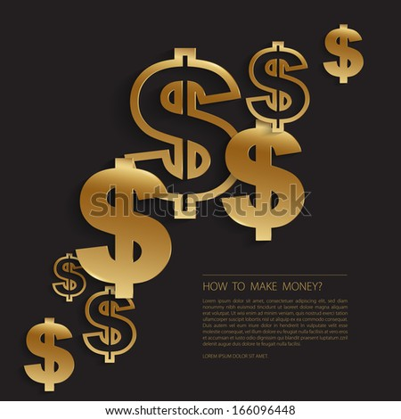 Gold dollar signs background - stock vector