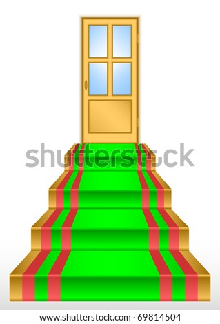 Gold door above ladders. All it on a white background.JPEG version is available as ID 68187016. - stock vector