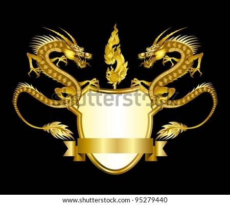 Gold dragons vector - stock vector