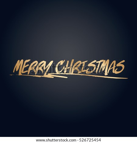 Gold effect merry christmas text vector design