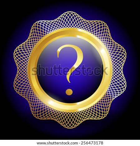 Gold emblem with interrogation mark. - stock vector