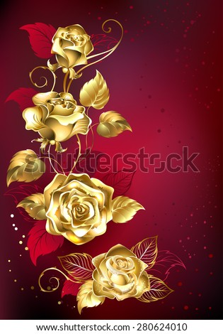 gold entwined roses on red textural background  - stock vector