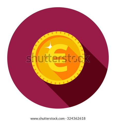 Gold euro coin in a circle. Vector illustration of cash euro coins in a flat style. One euro icon. Flat design symbol money. - stock vector