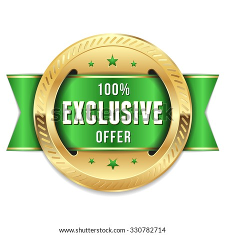Gold exclusive offer badge with green ribbon - stock vector