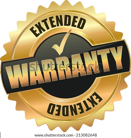 gold extended warranty sign - stock vector