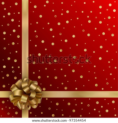 Gold festive ribbon with bow on red background - stock vector