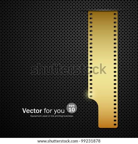 Gold film roll on black stainless steel backgrounds, vector illustration - stock vector