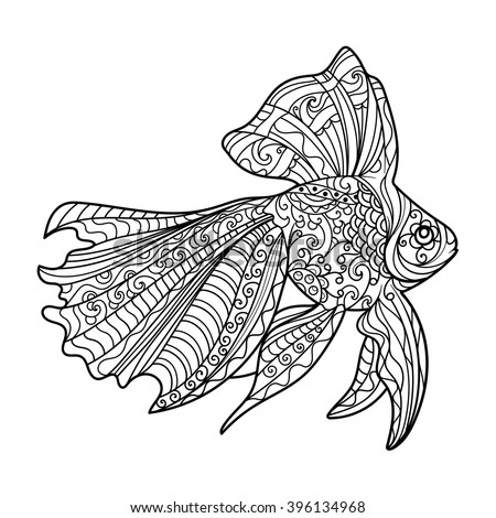 gold fish coloring book for adults vector illustration anti stress coloring for adult - Fish Coloring Pages For Adults