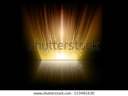gold flares on the dark space - stock vector