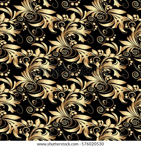 Gold Floral Seamless Pattern Black Background With Vintage Golden 3d Flowers Leaves And Antique