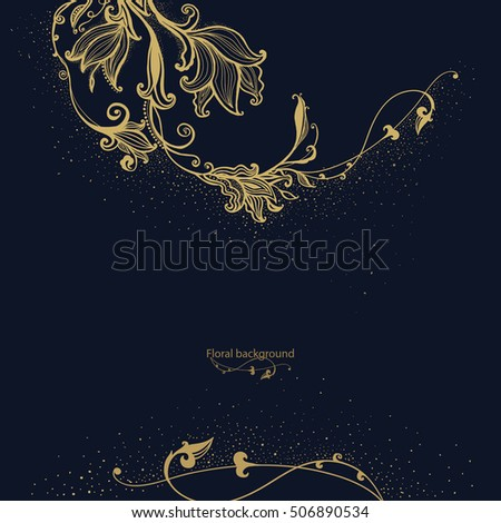 Gold Flower background. Vintage greetings card. Hand drawn flowers. Decorative floral ornament. Vector illustration.