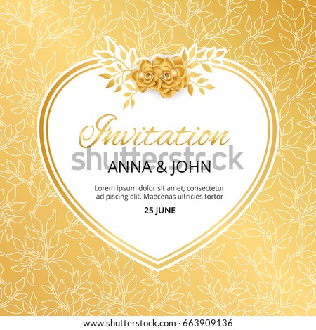 Gold flower wedding heart invitation weddings stock vector 663909136 gold flower wedding heart invitation for weddings background anniversary marriage engagement birthday m4hsunfo