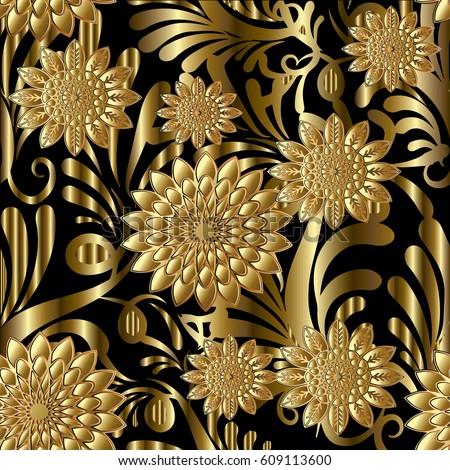 Gold Flowers Seamless Pattern Modern Floral Black Background Wallpaper Illustration With Vintage 3d Flowery