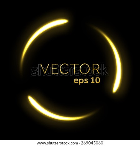 Gold flowing lights circle - stock vector