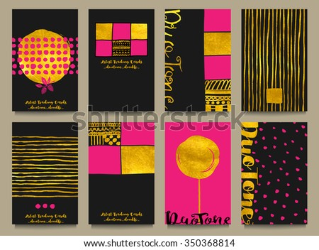 Gold Foil Business Cards or Artist Trading Cards - Business cards with gold foil, with abstract hand drawn doodle elements, calligraphy and in black, pink and gold - stock vector